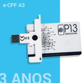 E-CPF A3 3 ANOS + CARTÃO E LEITORA