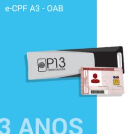 E-CPF A3 - OAB 3 ANOS NO TOKEN