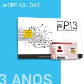 E-CPF A3 - OAB 3 ANOS NO CARTÃO